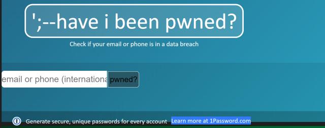 HaveIBeenPwned平台